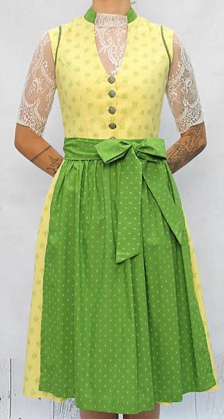 Vintage Baumwolldirndl Goldstich gelb grün