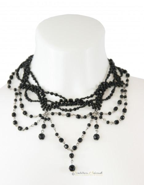 Lusana Kropfband mehrreihig Glasperlen schwarz 872