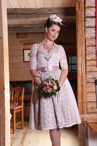 Dirndl Goldstich Hochzeitsdirndl creme rosé mit Herzausschnitt