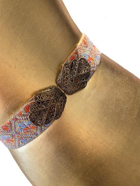 Trachtengürtel Stretch orange blau mit goldener Schließe