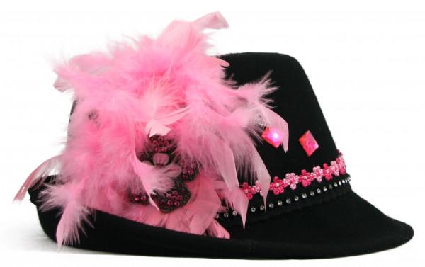 Trachtenhut Dirndlhut Wiesnduft von Goldstich schwarz rosa