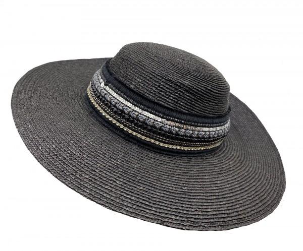 Trachtenhut Dirndlhut Lembert Miesbacher Stroh schwarz Perlenband schwarz