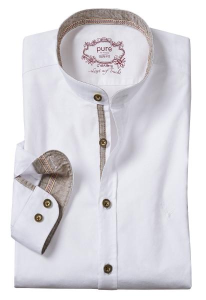 Trachtenhemd Langarm Pure weiß mit Stehkragen braun