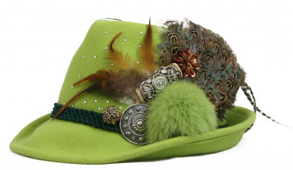 Trachtenhut Dirndlhut Sennerin von Goldstich grün braun