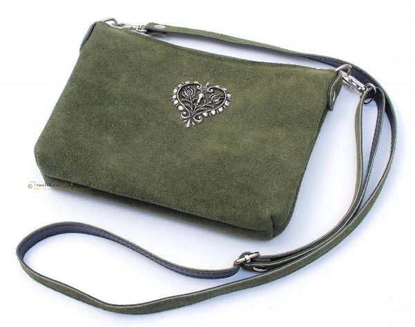 Dirndltasche Trachten Handtasche Metallherz oliv