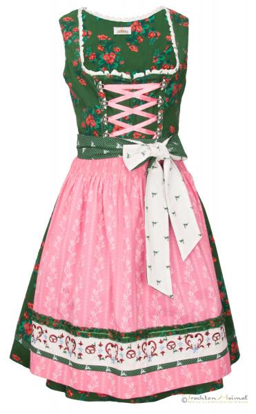 Baumwolldirndl Almsach grün geblümt rosa