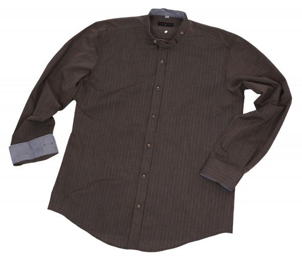 Trachtenhemd Hoamat Rocker Langarm Stehkragen braun mittelblau