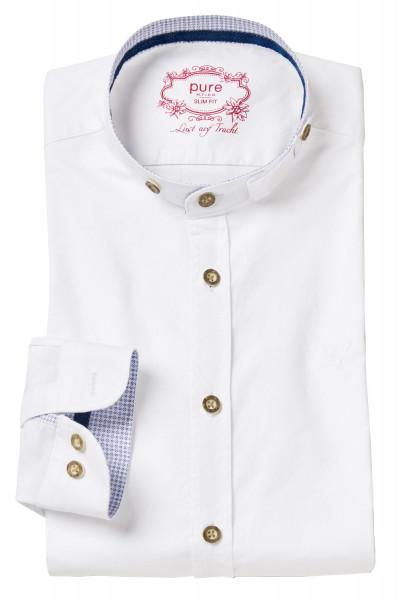 Trachtenhemd Langarm Pure weiß mit Stehkragen blau bedruck