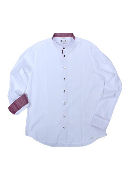 Trachtenhemd Langarm Herren G´Weih & Silk Achensee weiß rot