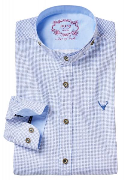 Trachtenhemd Langarm Pure blau mit Stehkragen