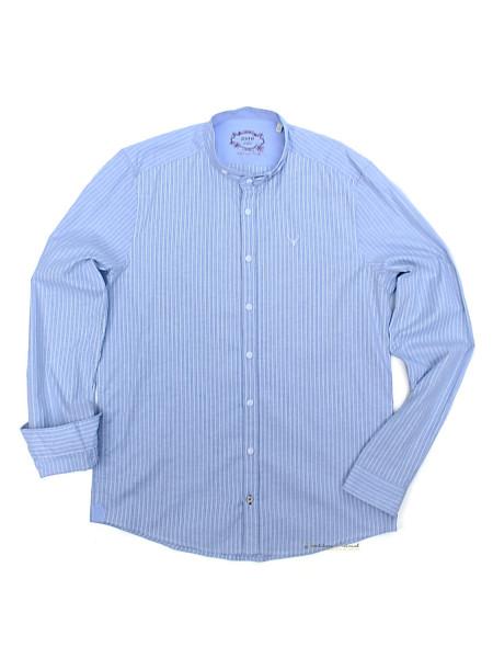 Trachtenhemd Langarm Pure hellblau gestreift Stehkragen