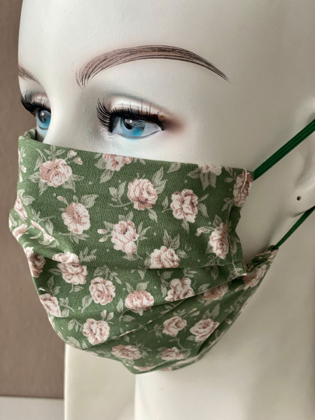 Mundmaske Nasenmaske Baumwolle grün geblümt