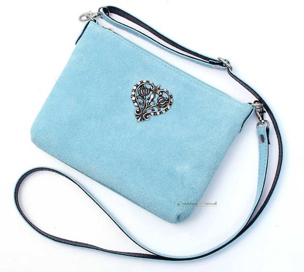 Dirndltasche Trachten Handtasche Metallherz hellblau