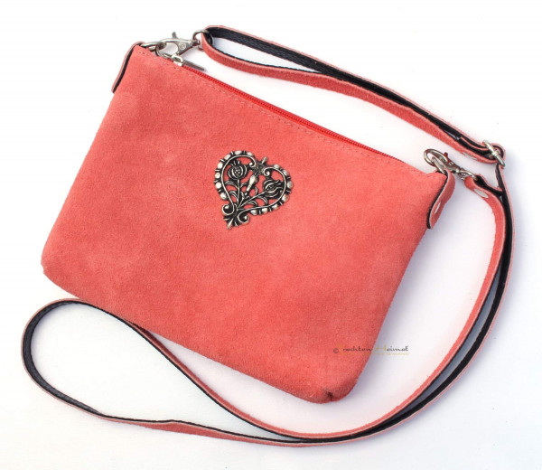 Dirndltasche Trachten Handtasche Metallherz altrosa
