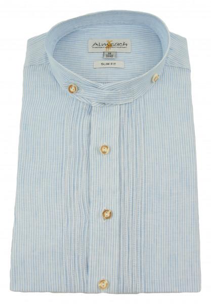Almsach Trachtenhemd Leinen hellblau