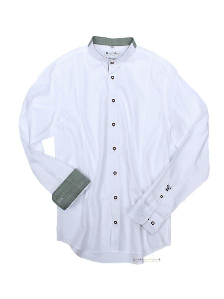 Trachtenhemd Langarm Herren G´Weih & Silk Achensee weiß grün