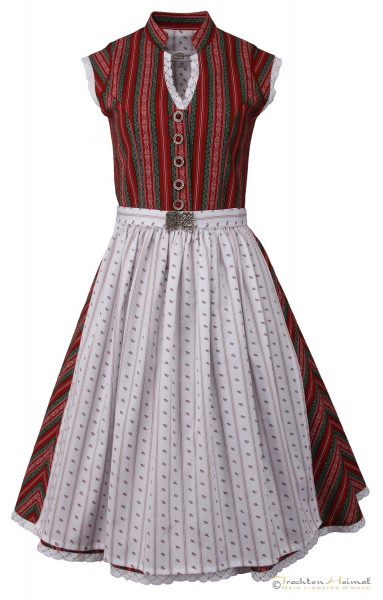 Vintage Baumwolldirndl Goldstich rot grün gestreift weiß mit Schließe 65cm