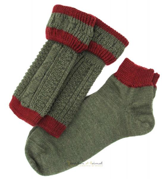 Loferl Socken Set Lusana jägergrün/burgund