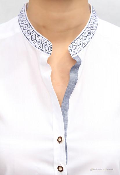 Trachtenbluse Langarm Damen G´Weih & Silk Samira weiß blau
