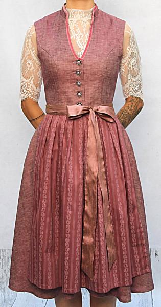Vintagedirndl Goldstich Leinen rosenholz 65cm