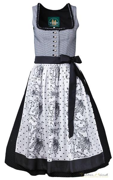 Dirndl Wenger Ilse schwarz weiß mit Seidenschürze 70cm