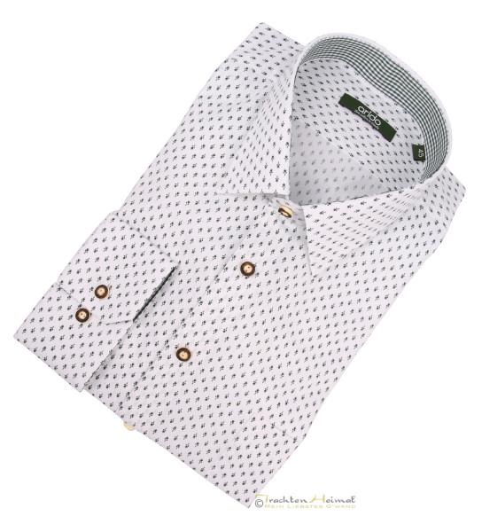 Trachtenhemd Arido Kent weiß gruen