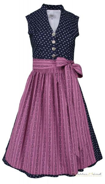 Vintage Baumwolldirndl Goldstich dunkelblau pink 65cm