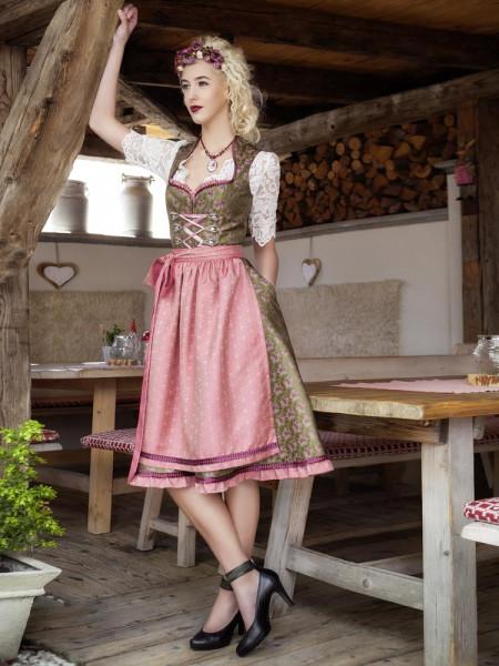 Goldstich Dirndl Jacquard khaki rose Model