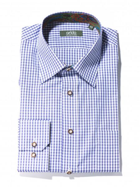 Herren Trachtenhemd Slim Fit Arido Karo lila