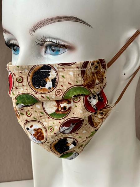 Mundmaske Nasenmaske beige Hunde mit Nasensteg