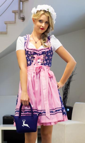 Dirndl Bergweiss dunkelblau rosa 50154