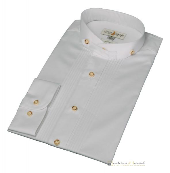 Trachtenhemd Langarm Almsach Baumwolle weiß Stehkragen Basic