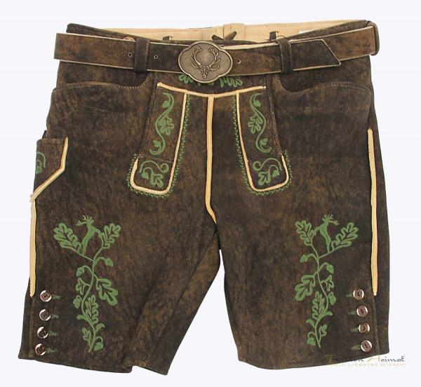 Hirschlederhose G´Weih & Silk Anderl dunkelbraun Blattstick grün