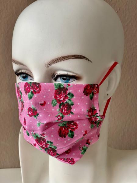 Mundmaske Nasenmaske Baumwolle pink für Erwachsene und Kinder