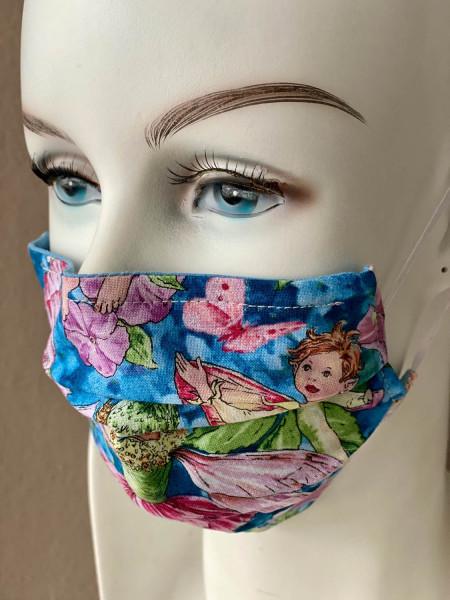 Mundmaske Nasenmaske blau rosa Fee mit Nasensteg
