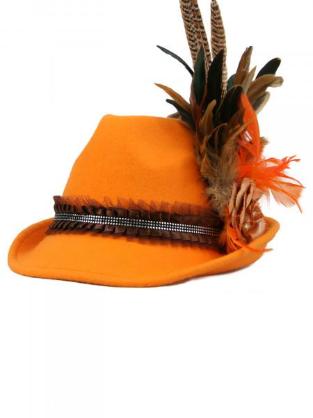 Trachtenhut Dirndlhut Sommervogel in orange mit Feder von Golstich