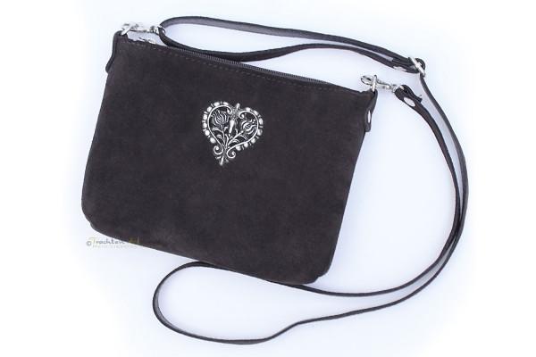 Dirndltasche Trachten Handtasche Metallherz braun
