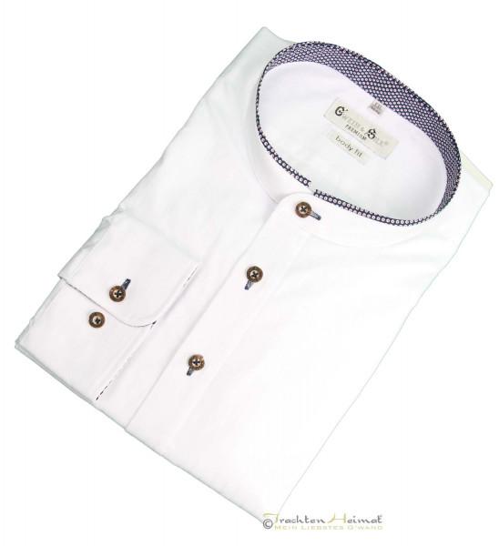 Trachtenhemd Langarm G´Weih & Silk weiß mit blauem Kragen