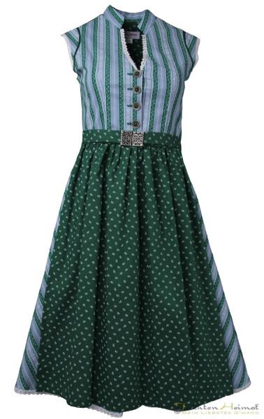 Vintage Baumwolldirndl Goldstich blau grün gestreift mit Schließe 65cm