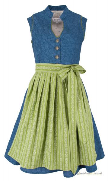 Vintage Baumwolldirndl Goldstich blau grün 65cm