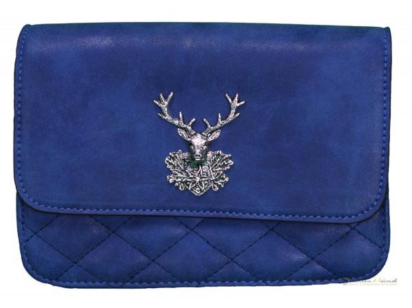 Dirndltasche Trachten Handtasche Leder eckig royalblau