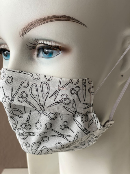 Mundmaske Nasenmaske weiß Schere mit Nasensteg