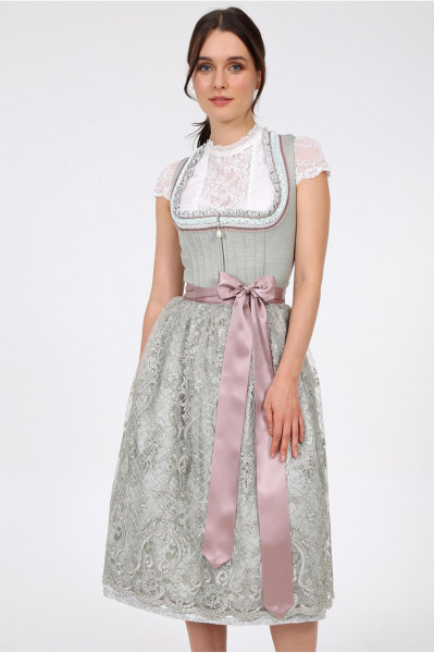 Dirndl Krüger Collection Esther hellgrün Spitzenschürze 70cm