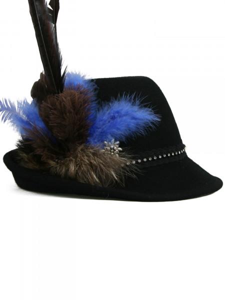 Trachtenhut Dirndlhut Gipfelstürmer von Goldstich schwarz royalblau
