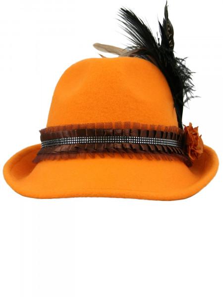 Trachtenhut Dirndlhut Federnball orange mit brauner Feder von Goldstich