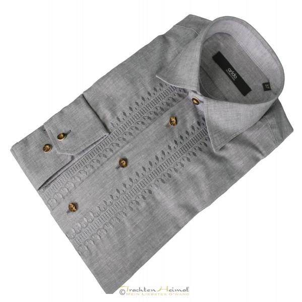 Trachtenhemd Herren Arido Kent Langarm grau