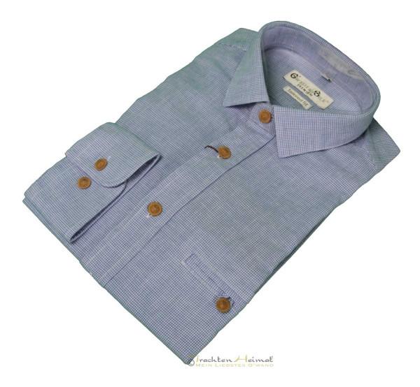 Trachtenhemd Langarm G´Weih & Silk Eibsee blau
