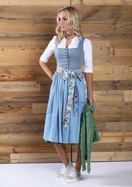 Dirndl Anno Domini Design Camilla eisblau geblümt 70cm