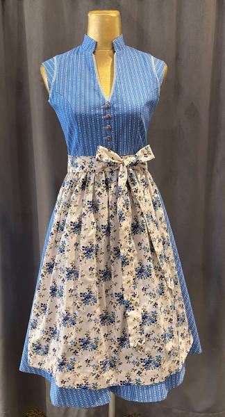 Vintage Baumwolldirndl Goldstich blau creme geblümt 65cm