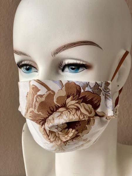 Mundmaske Nasenmaske Baumwolle beige bunt